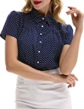Womens Summer Short Sleeve Blosue Button Down Shirt Polka Dots, Navy Blue, Size Large
