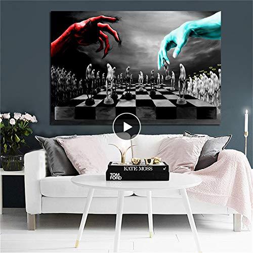 Danjiao Gut Und Böse Schach Poster Und Drucke Leinwand Gemälde Skandinavisch Nordisch Schwarzweiß Wandbild Für Kinderzimmer Dekoration Wohnzimmer 60x90cm