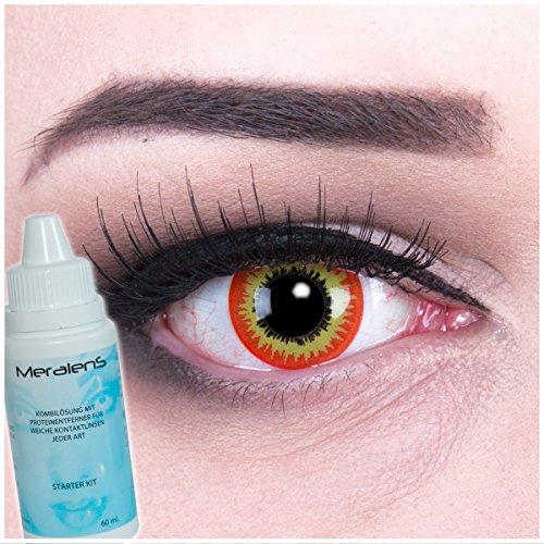 EIN PAAR Farbige Crazy Fun 14 mm 'Red Ork' Kontaktlinsen mit gratis Linsenbehälter und Kombilösung. Perfekt für Fasching!