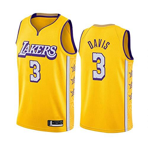 Baloncesto Masculino Jersey City Los Angeles Lakers # 3 Davis Transpirable de Secado rápido sin Mangas del Chaleco Top Sport,Amarillo,S(170cm/50~65kg)