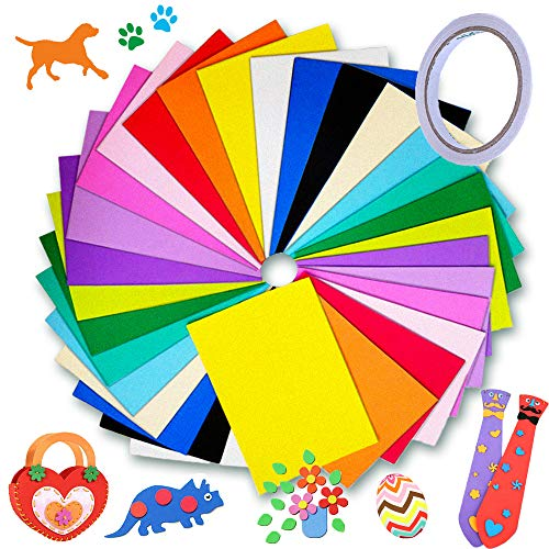 30 Pcs EVA Colorful Foam Sheets,Rainbow Handicraft Sheets,Mixed Colors Crafting Sheets with with Double-Sided Tape for Scrapbooking,Kids DIY Projects,School Artwork,Party Decor,12 x 8Inch