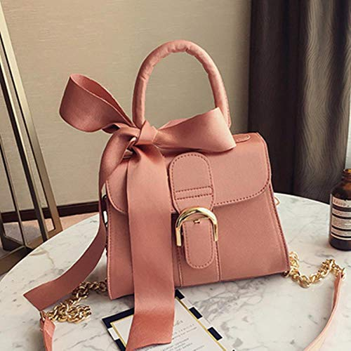 Zent Bowknot Messenger Bags Mujeres Cadenas Flap Bag Damas Moda Color sólido Hombro Bolsos Mujer Negro Bolsos, Rosa