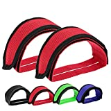 Outgeek 1 Pair Bike Pedal Straps Pedal Toe Clips Straps Tape for Fixed Gear Bike (red)