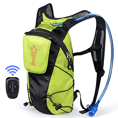 ECEEN LED Turn Signal Backpack Light Reflective Vest 18L Capacity Outdoor Sports Bag Flashing Warning Lamp Security Pack with 1L Bladder Bag & Wireless Remote Control for Safety Cycling (Green)