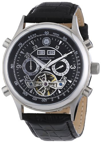 Constantin Durmont Lafitte - Reloj analógico de caballero automático con correa de piel negra - sumergible a 30 metros