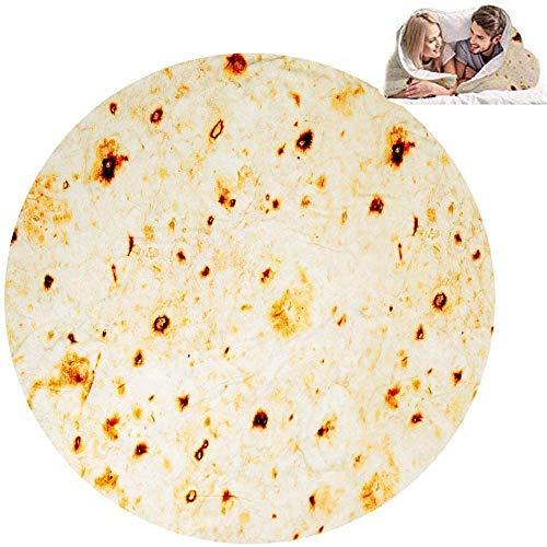 Burrito Tortilla Blanket Manta De Tortillas para Tortillas De Tortilla Redonda para Adultos Y Niños, Manta De Tortilla De Harina Divertida Manta De Comida