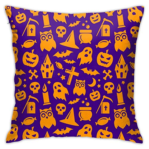 N/Q Polyester Throw Pillow Case Cushion Cover Halloween Seamless Pattern Background Sofa Home Decorative (18x18 inch)