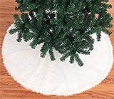 Asnails Falda De Árbol De Navidad 48 Pulgadas, Falda De Árbol Blanco Nevado De Piel Sintética para Decoraciones De Navidad -para Fiestas Decoraciones Navideñas Interiores Y Exteriores