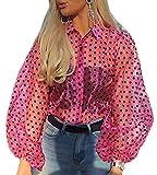Camisa de Manga Larga para Mujer Top Blusa Transparente Casual con Lunares Crop Top Suelto de Punto de Moda Camiseta de Verano Primavera Rosa M
