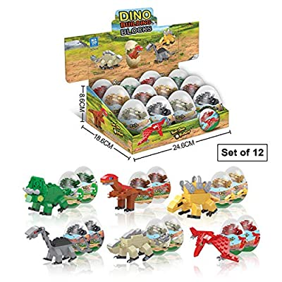 12 Dinosaur Eggs with Dinosaurs Building Blocks - Dinosaur Toys for Boys & Girls- STEM Kids Activities Toy - Animal Dinosaur Party Favors & Birthday Party Supplies- Educational ,Fun ,Surprise Egg by smarts