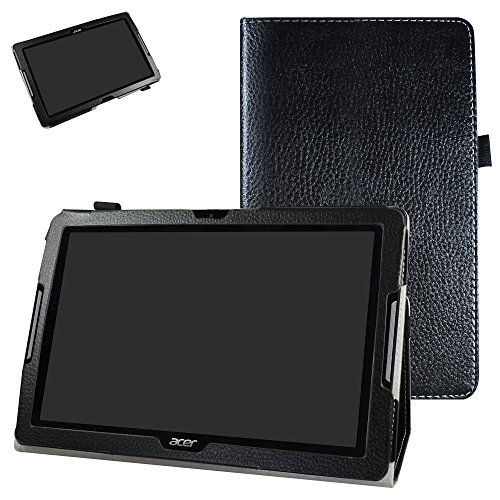 Mama Mouth Acer Iconia One 10 B3-A30 Case, PU Leather Folio 2-folding Stand Cover with Stylus Holder for 10.1' Acer Iconia One 10 B3-A30 Android Tablet, Black