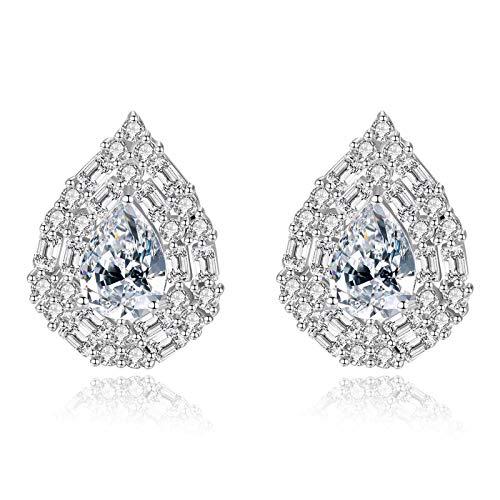 Beydodo Pendientes de Plata de Ley 925 Mujer,Pendientes Mujer Azul Pera con Cristal Circonita Azul