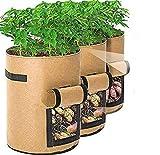 Pflanzen wachsen Taschen, BRIGHT ACE 3 Pack 7 Gallonen Gemüse wachsen Taschen Pflanzen Stoff Töpfe Garten Pflanzer Behälter für Zuhause, Kartoffel, Tomate, Karotte Pflanzer Taschen (Braun)