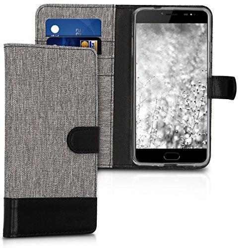 kwmobile Ulefone Gemini Pro / T1 Hülle - Kunstleder Wallet Case für Ulefone Gemini Pro / T1 mit Kartenfächern & Stand - Grau Schwarz