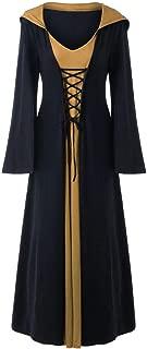Dwevkeful Vestido Victoriano Mujer Largo Vintage con Capucha para Fiesta Navidad Carnaval Mangas Llamaradas Falda de Manga Larga Gótica Retro Traje Medieval Noche Halloween