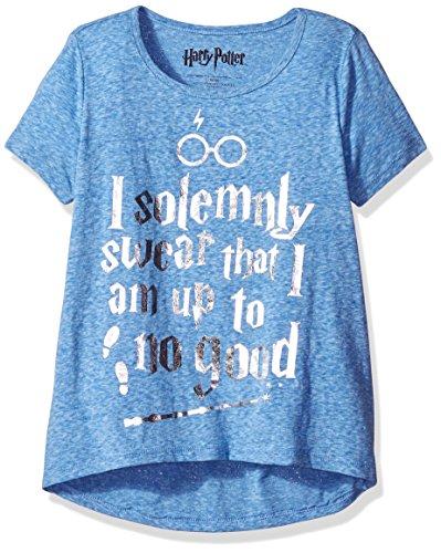 Harry Potter Big Girls' Fashion T-Shirt Shirt, Royal Twinkle, Large