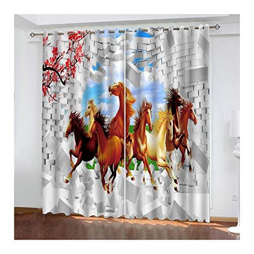 AueDsa Vorhänge Übergardinen Polyester Pferd durch die Mauer Weiß und Braun Verdunkelungsvorhänge 98% Gardinen Blickdicht 2er Set 274x183CM