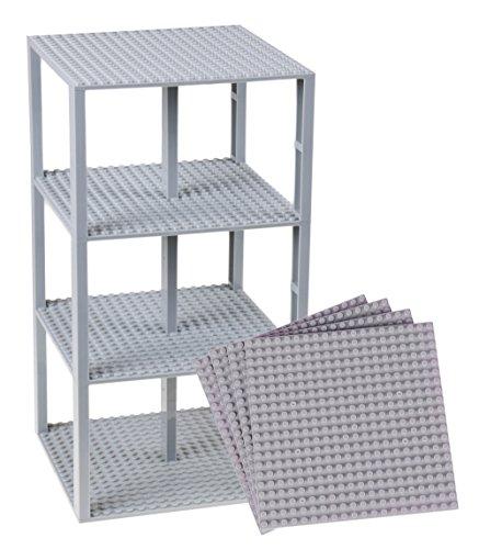 Strictly Briks Pack de 4 Bases con Ladrillos separadores 2 x 2 - Construcción en Forma de Torre - Compatible con Todas Las Marcas - 15,24 x 15,24 cm - Gris Claro