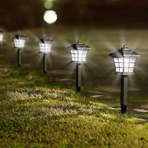 Twinkle Star 6 Pack Solar Pathway Lights Outdoor Solar Garden Lights Solar Powered Landscape Lighting for Yard Patio, Garden, Walkway