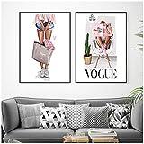 WLKQY Cartel nórdico de la lona del arte de la pared | Cartel de Vogue con estampado de niña de moda con bolso, decoración de niña, decoración de imagen de sala de estar- 40x60cmx2 sin marco
