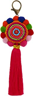 ROCK RARA Bag Colorful Tassel Keychain Pom Pom Key Decorations Gift