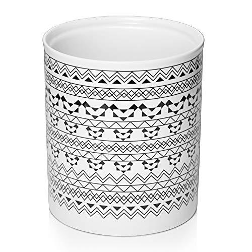 DOWAN Kitchen Utensil Holder  72quot Large Utensil Crock for Countertop Bohemian Style Ceramic Utensil Holder Anti Slip amp Scratch Cork Bottom White amp Black Pattern
