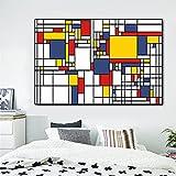 CHBOEN Cuadros de cuadrícula de pintura abstracta de Piet Cornelies Mondrian impresiones de lienzo moderno arte de pared para decoración de cuadros de sala de estar 60x90cm
