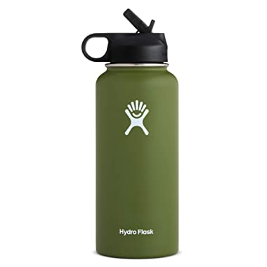 Hydro Flask Wide Mouth Water Bottle, Straw Lid - 32 oz, Olive (W32SW306)