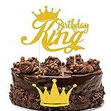 Palksky Gold Glitter King Birthday Cake Topper/Happy Birthday decortion for Man Boy Prince 1st 3rd 10th 16th 18th 20th 21st 25th 29th 30th 40th 50th Birthday (Set of 2)