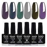 Allenbelle Smalto Semipermante Per Unghie Kit In Gel Uv Led Smalti Semipermanenti Per Unghie Nail Polish UV LED Gel Unghie(Kit di 6 pcs 7.3ML/pc) 021