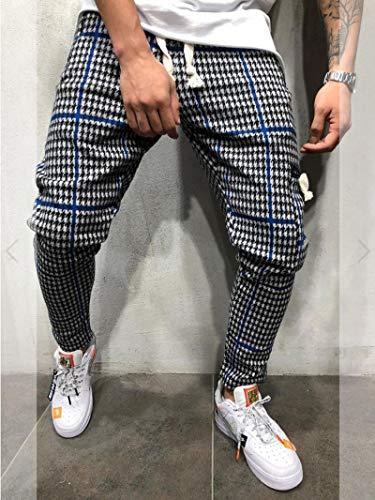 ShFhhwrl Vaqueros de Moda clásica M-3Xl Pantalones De Gimnasia para Hombre Pantalones De Chándal A Cuadros Pantalone