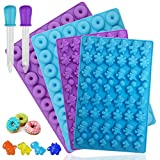4 Pcs Mini Silicone Mold,YuCool 48-Cavity Donut and Dinosaur Moulds for Chocolate Candy Jelly Ice Cube with 2 Pcs Droppers-Blue,Purple