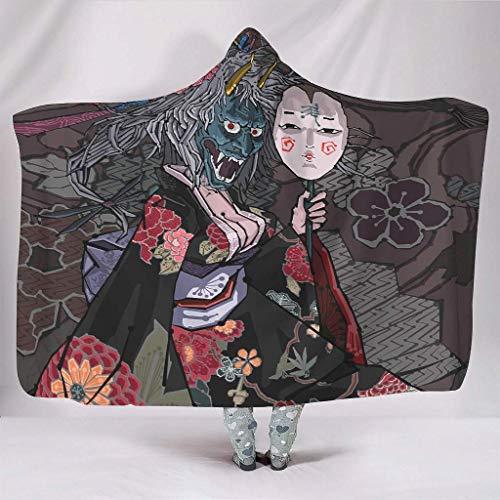 Kuschelige Kapuzendecken Traditionelle Japanische Mädchen mit Oni-Maske Artwork Schöne Sexy Mädchen Kimono Focus...