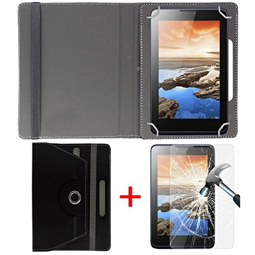 "Hello Zone Exclusive 360° Rotating 7"" Inch Flip Case Cover + Free Tempered Glass for Micromax Canvas Tab P470 -Black"