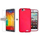TBOC® Pack: Rot Gel TPU Hülle + Hartglas Schutzfolie für Huawei Ascend G7. Ultradünn Flexibel Silikonhülle. Panzerglas Bildschirmschutz in Kristallklar in Premium Qualität.