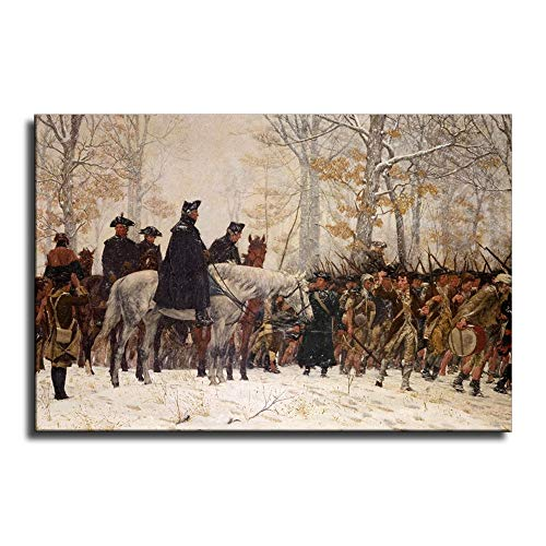 FINDEMO Large George Washington at Valley Forge Revolutionary War Painting Canvas Art Poster and Wall Art Picture Print Modern Family Bedroom Decor Posters /0527 (Unframed,24x36 inch)
