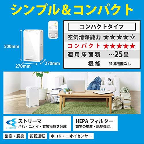 ダイキン空気清浄機(25畳までホワイト)DAIKINストリーマ空気清浄機MC55W-W