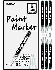 ブラックアクリルペイントペン 6本パック 0.7mm アクリルブラックパーマネントマーカー ブラックペイントペン ガラスセラミックロックレザープラスチックストーン メタルキャンバスエナメルマーカー 防水書き込み極細ペン。