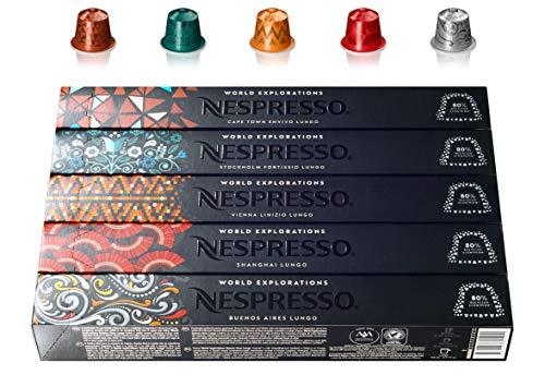 Nespresso World Explorations Pack: ENVIVO LUNGO, FORTISSIO LUNGO, LINIZIO LUNGO, SHANGHAI LUNGO, BUENOS AIRES LUNGO, 50 Kapseln