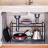 2 Tiers Extendable Under-Sink Organizer shelf organizer Storage Rack (black)