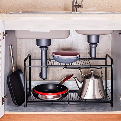 2 Tiers Extendable Under-Sink Organizer shelf organizer Storage Rack (black)