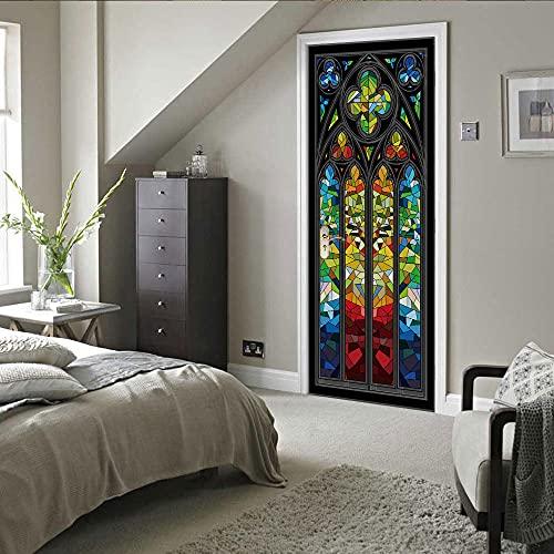 Pegatinas 3D para puertas interiores autoadhesivas, murales de pared para puerta, coloridos graffitiDIY geométricos removibles impermeable vinilo PVC 77 x 220 cm
