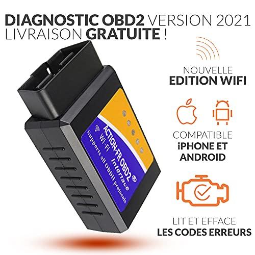 OBD2 WiFi + Support Francais 7/7J - LIT ET EFFACE Les Codes ERREURS ! Tous VÉHICULES - WiFi Android IPHONE - Vendeur Francais avec Support 7/7J