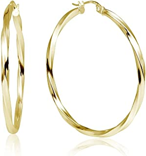 LOVVE Yellow Gold Flashed Sterling Silver High Polished Twist Round Click-Top Hoop Earrings, All Sizes