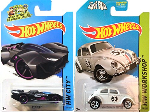 Hot Wheels Rev Rod & Disney's Herbie The Love Bug Volkswagen IN CASES HW Tooned & All Stars 2014
