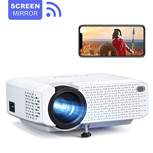 Crosstour Proyector Portátil Wi-Fi Mini Videoproyector Soporte 1080P Full HD Inalámbrico,Cine en Casa Compartir Pantalla,Compatible con Android iPhone iPad HDMI USB MicroSD