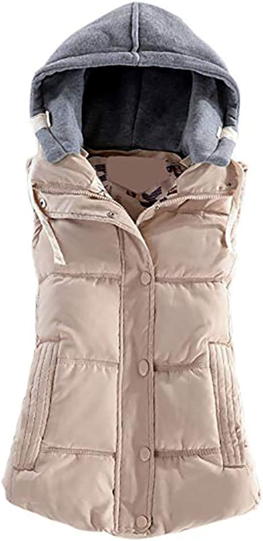 Gooket Women's Juniors Winter Outerwear Vests Cotton Padded Detachable Hood Waistcoat