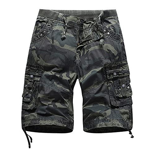 Jubaton Mens Work Heavy Duty Half Pants Summer Casual Cargo Loose Fit Pantalones Cortos con múltiples Bolsillos Pantalones Cortos de Entrenamiento de Gimnasio con Bolsillos 34