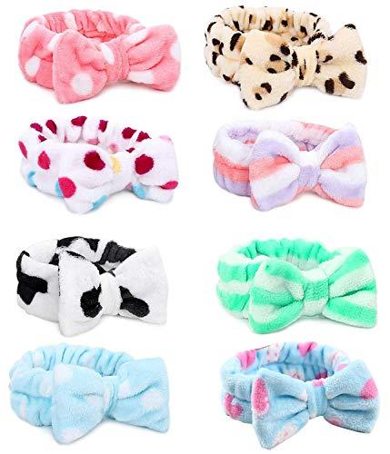 SIMIN 8 Stück Bowknot Haarband für Make up, Elastische Korallen Samt Gesicht Waschen Dusche Stirnband für Waschen Spa Yoga Beauty Gesichtspflege Make-up für Damen