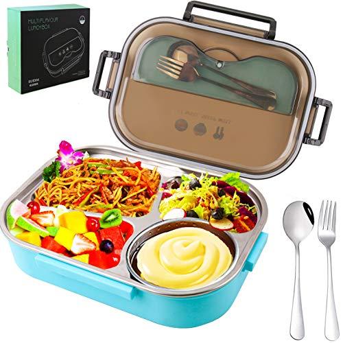 Songwin [2020 Verbesserte] Edelstahl Brotdose Auslaufsicher mit [1300ml], Lunchbox mit 4 Fächern, Zero Waste Brotbox und Brotzeitbox Behälter für Kinder und Erwachsene+Gabel & Löffel